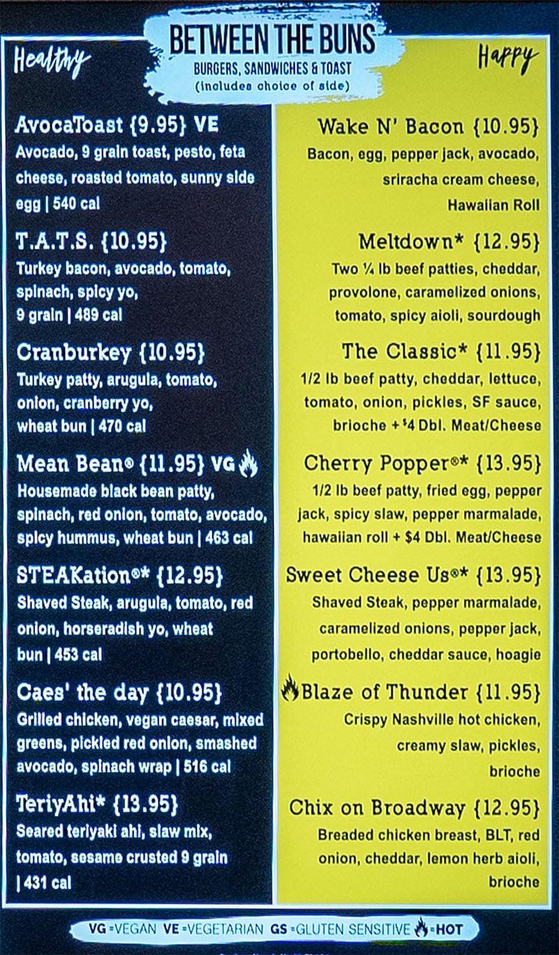 SkinnyFATS SLC menu - burgers, sandwiches, toast