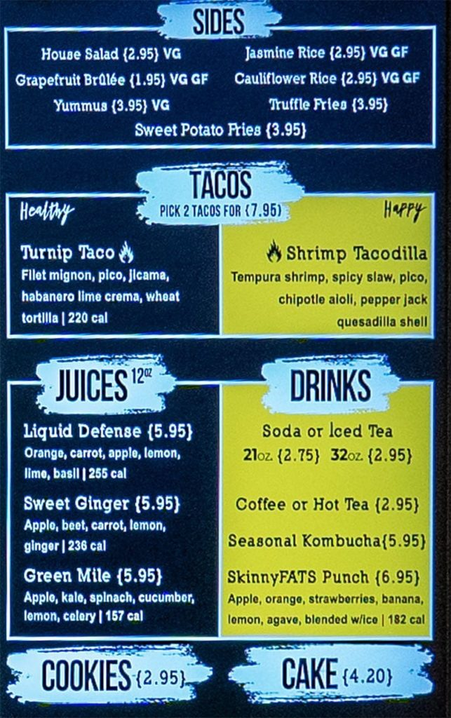 SkinnyFATS SLC menu - sides, tacos, juices, drinks