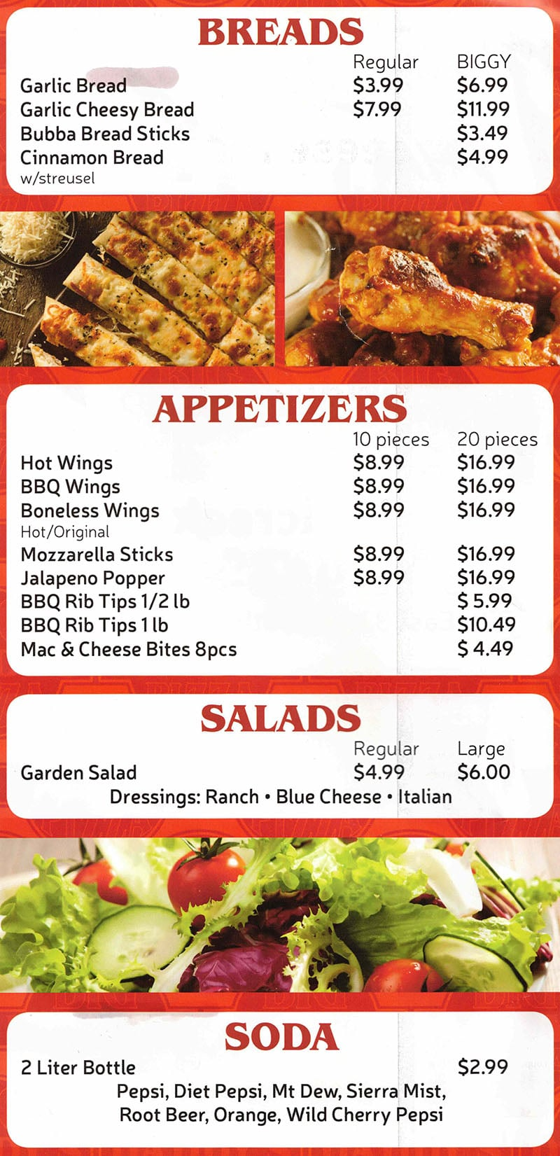Big Daddy's Pizza menu - breads, appetizers, salads, soda