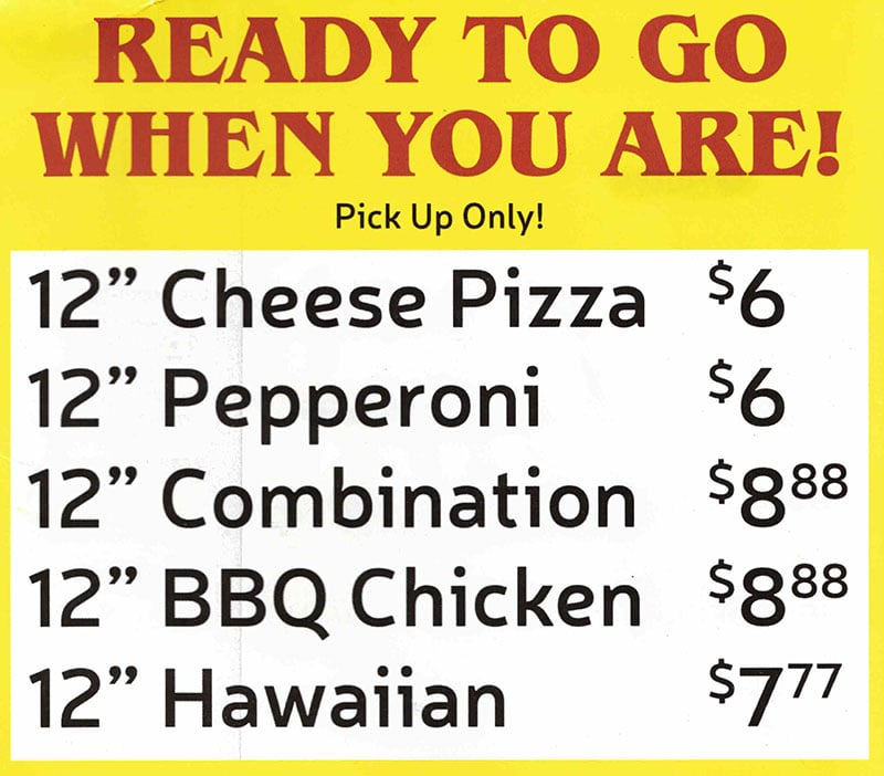 Big Daddy's Pizza menu - ready to go pizza