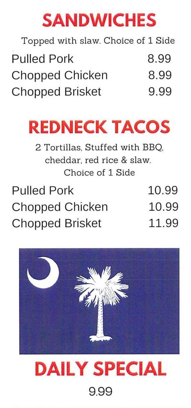 Charlotte Rose's Carolina BBQ menu - sandwiches, redneck tacos, daily special