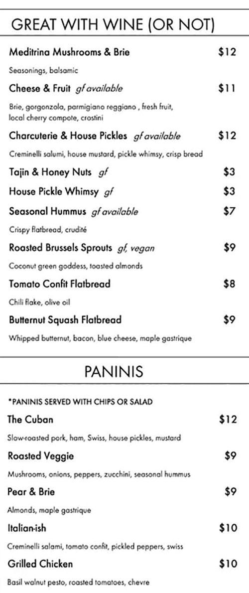 Elevo menu - great with wine, panini