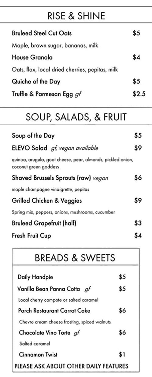 Elevo menu - rise and shine, soup, salads, fruit, breads, sweets