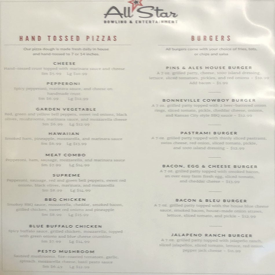 Pins And Ales menu - pizzas, burgers