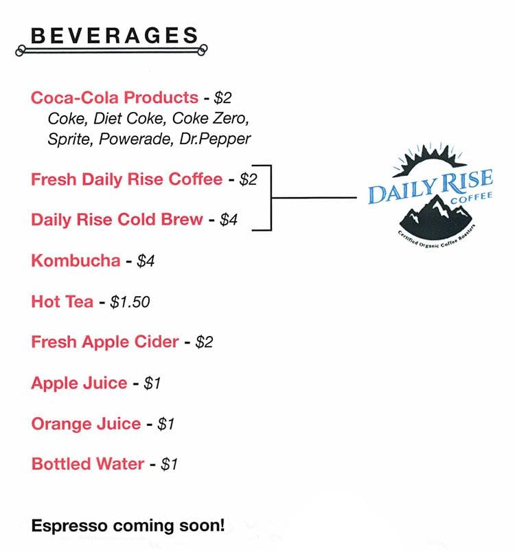 Salt Bistro menu - beverages