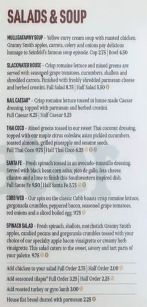 Slackwater Pizzeria And Pub Sandy menu - salads and soup