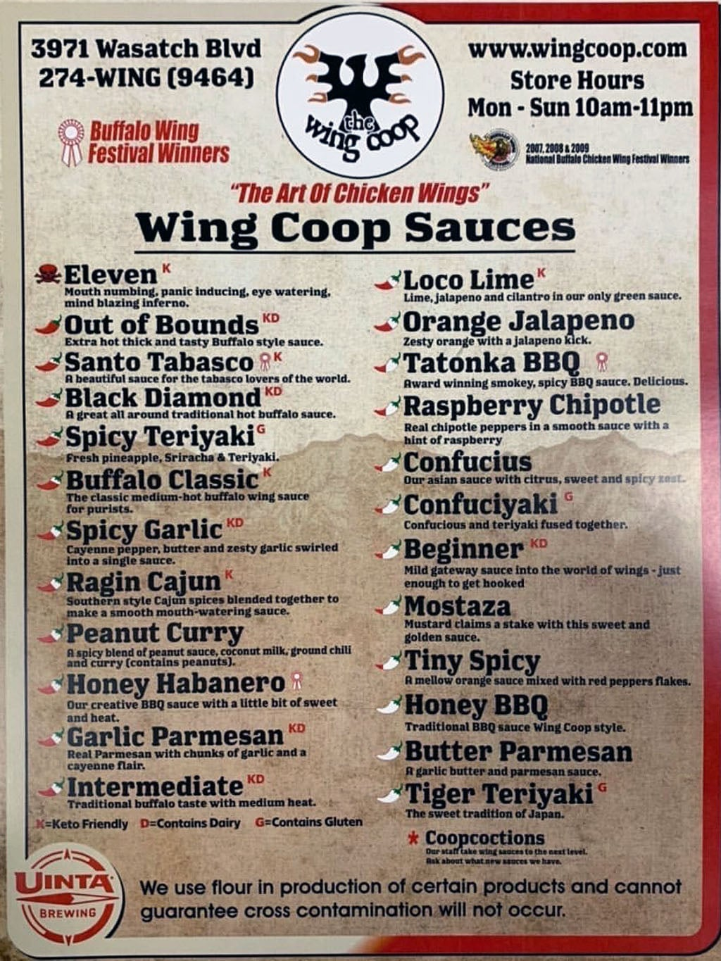 Wing Coop menu - Wing Coop sauces