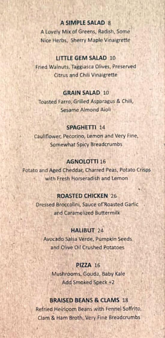 Arlo menu - dinner