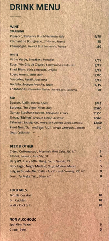 Arlo menu - drinks
