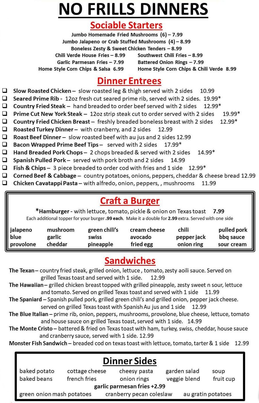 No Frills Diner menu - dinner