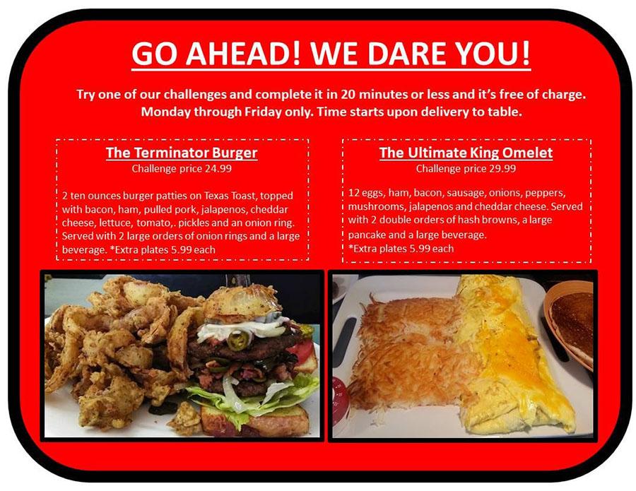 No Frills Diner menu - food challenges