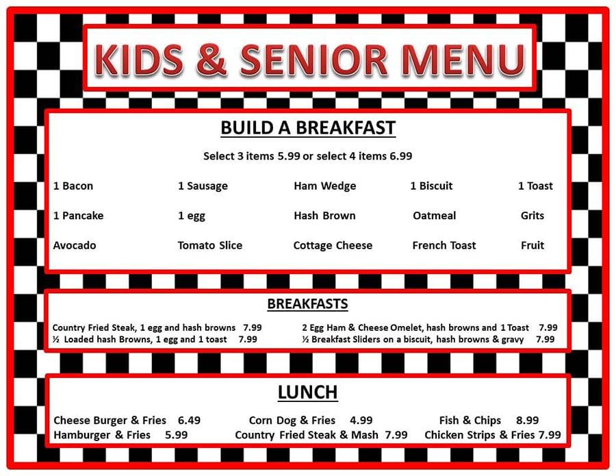 No Frills Diner menu - kids, seniors