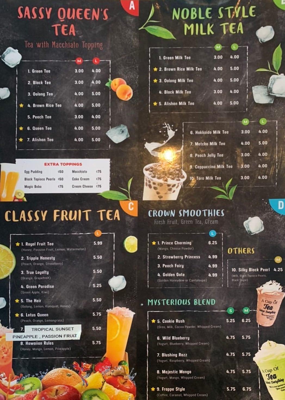 Queen Tea menu - tea