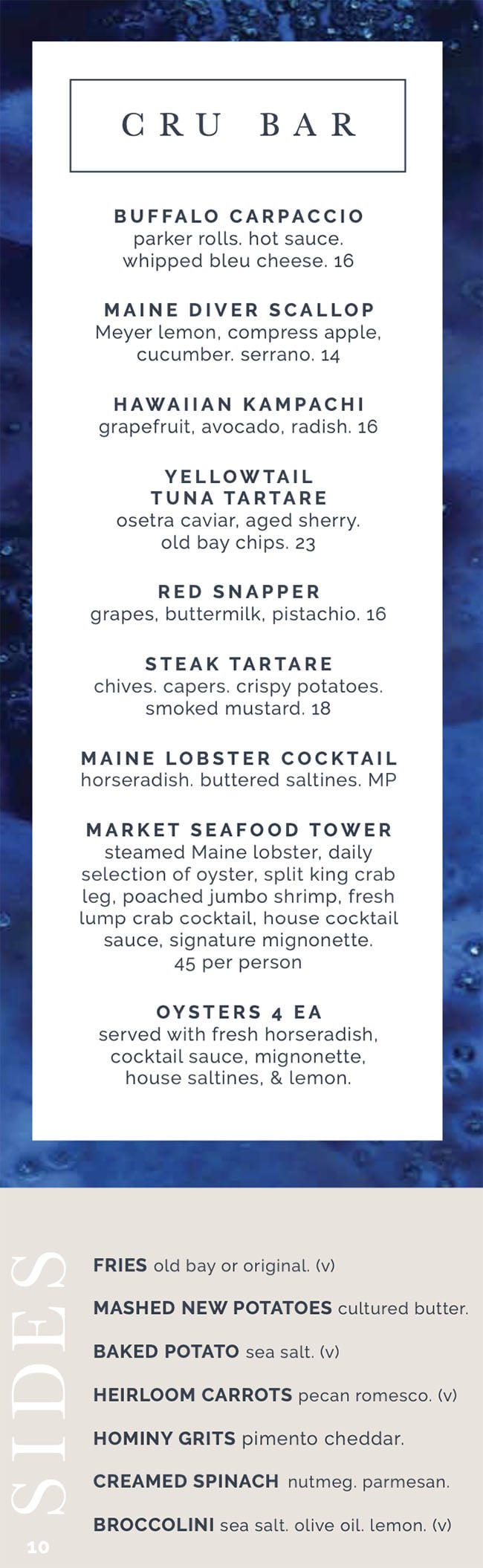 RIME Seafood And Steak menu - cru bar, sides