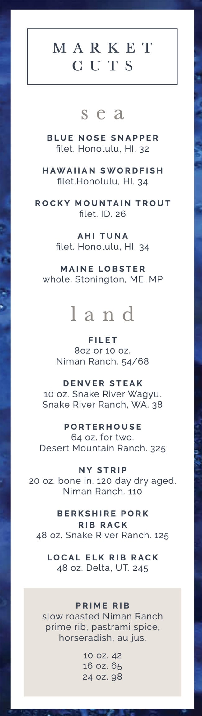 RIME Seafood And Steak menu - seafood, steaks
