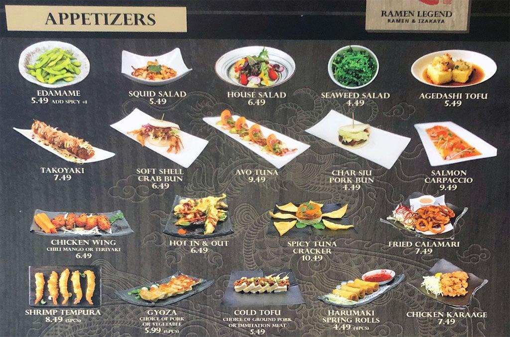 Ramen Legend menu - appetizers