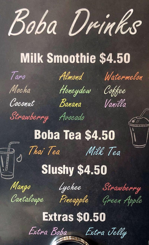 Ramen Legend menu - boba drinks