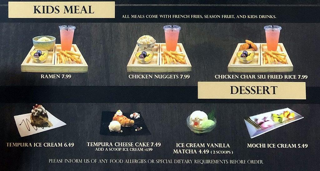 Ramen Legend menu - kids, dessert