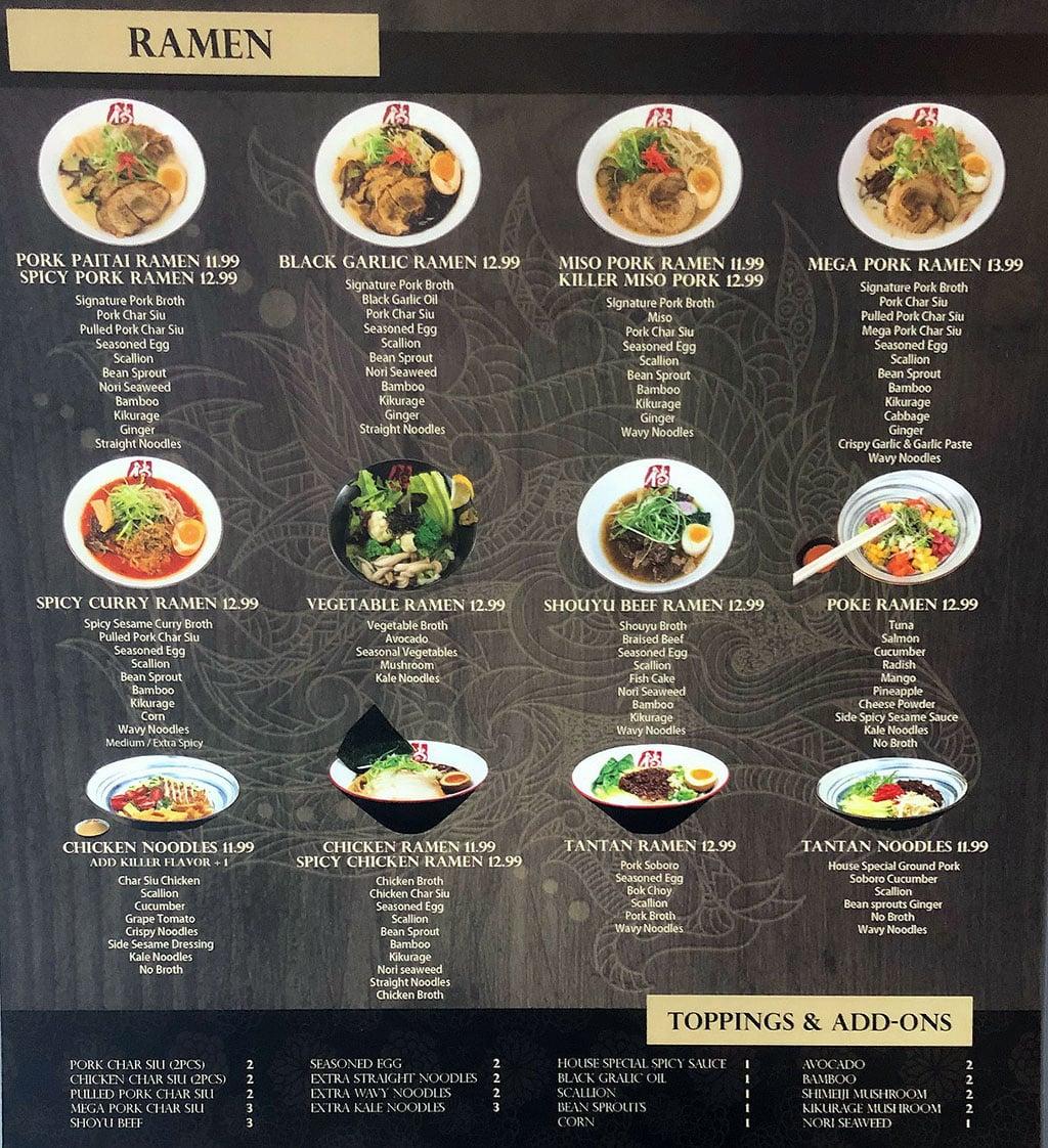 Ramen Legend menu - ramen