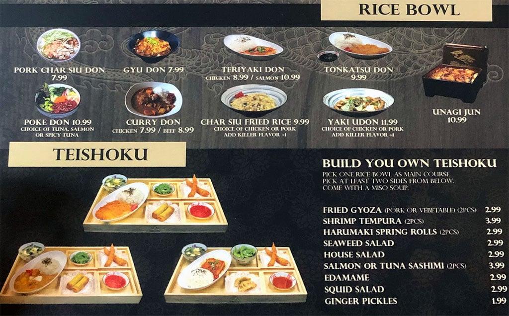 Ramen Legend menu - rice bowl, teishoku