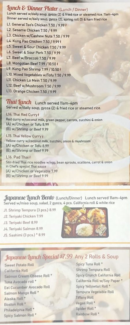 Asian Cuisine & Sushi Bar menu - lunch and dinner plates, thai. lunch, bento, japanese lunch