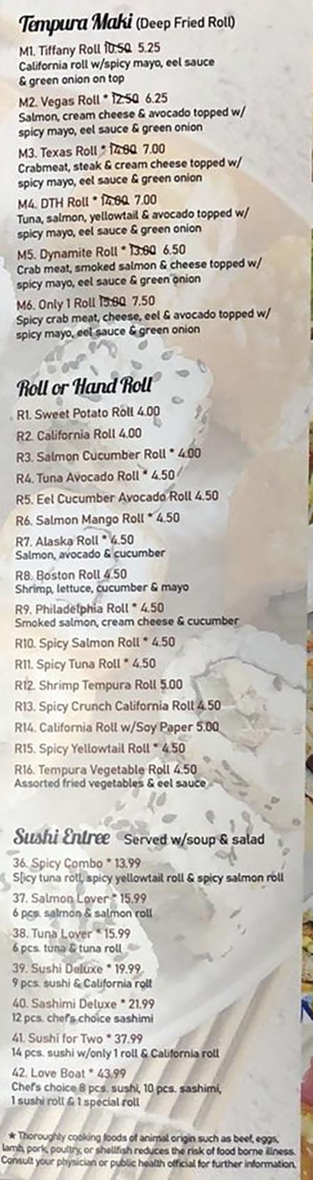 Asian Cuisine & Sushi Bar menu - tempura maki, rolls, hand rolls, sushi entree