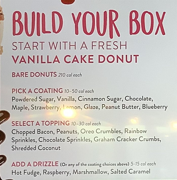 Duck Donuts menu - build your box