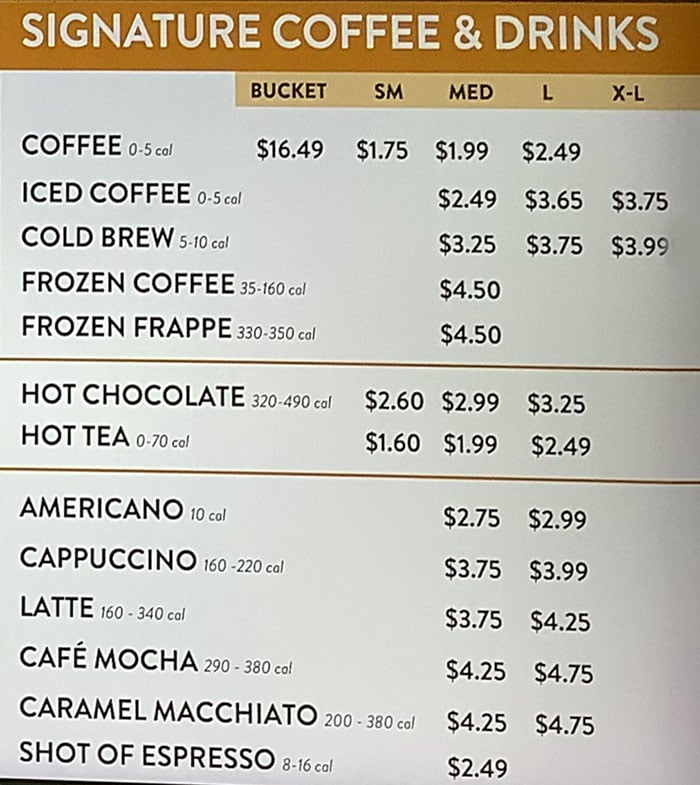 Duck Donuts menu - coffee, drinks