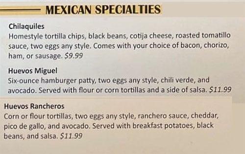 Eggs In The City menu - Mexican specialties