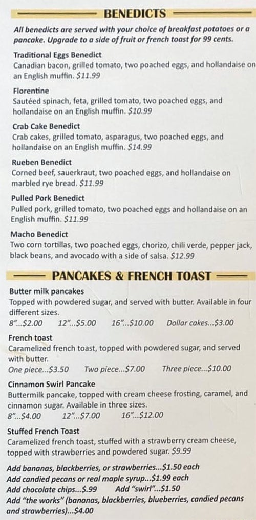Eggs In The City menu - benedicts, pancakes, French toast