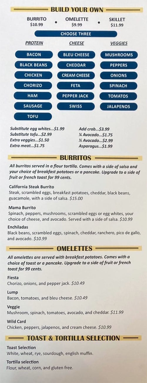Eggs In The City menu - build your own, burritos, omelettes, toast,tortilla