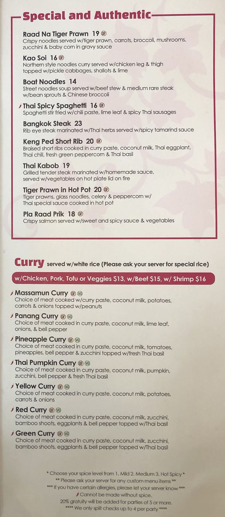 Kao Thai menu - special and authentic, curry