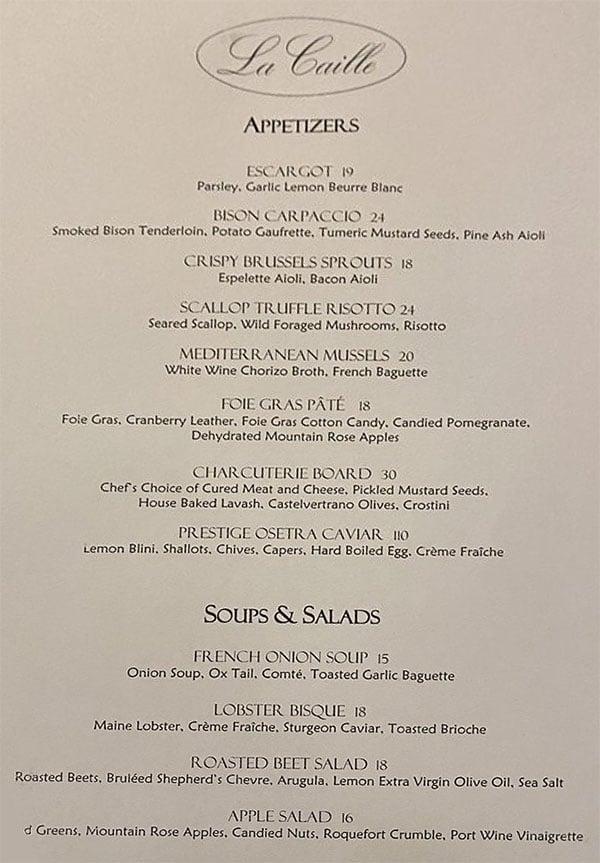 La Caille menu - appetizers