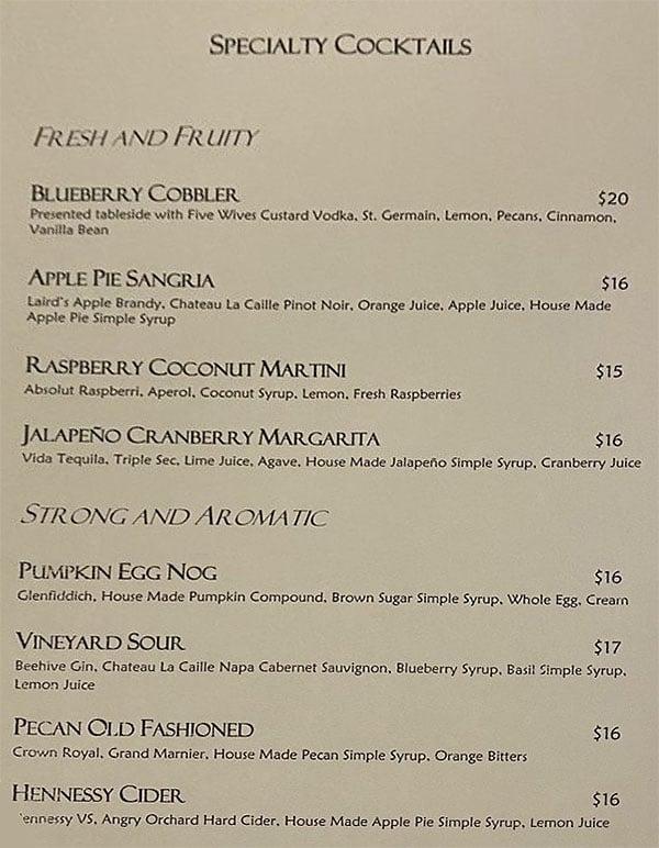 La Caille menu - cocktails