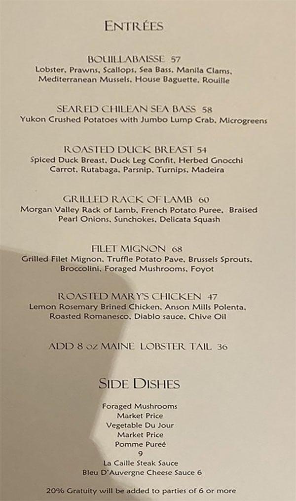 La Caille menu - entrees