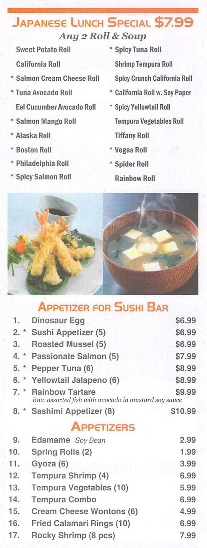 Red 8 Asian Bistro & Sushi Bar menu - Japanese lunch special, appetizers