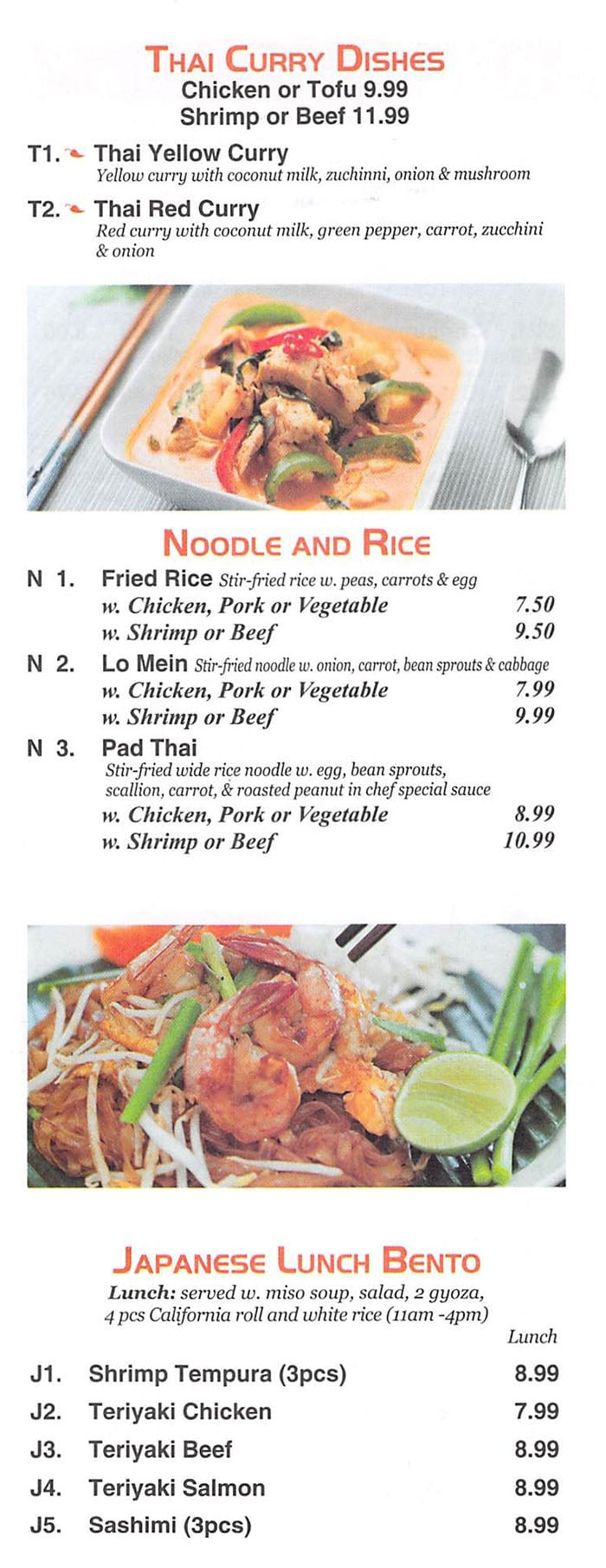 Red 8 Asian Bistro & Sushi Bar menu - Thai curry, noddle and rice, bento boxes