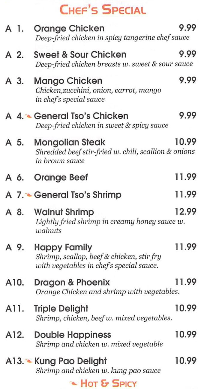 Red 8 Asian Bistro & Sushi Bar menu - chef's special