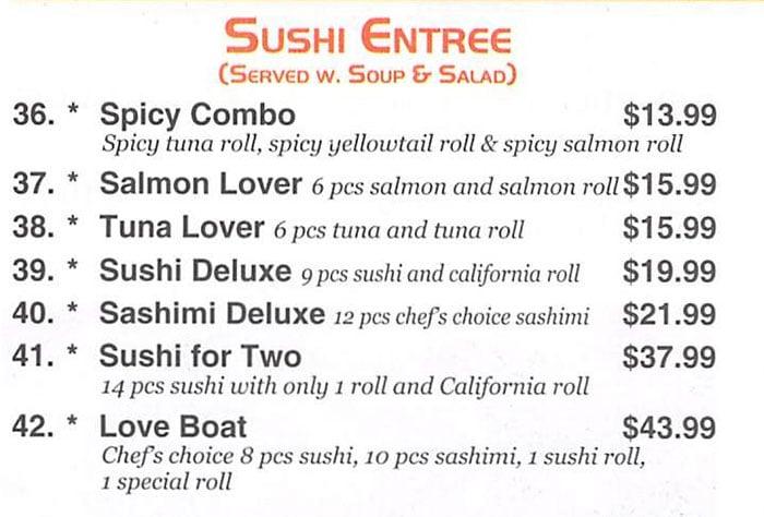 Red 8 Asian Bistro & Sushi Bar menu - sushi entree