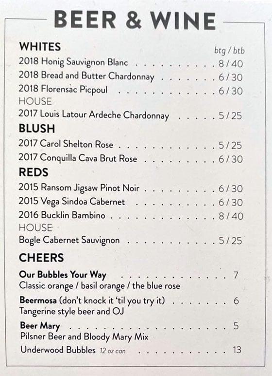 Root'd Cafe menu - beer and wine