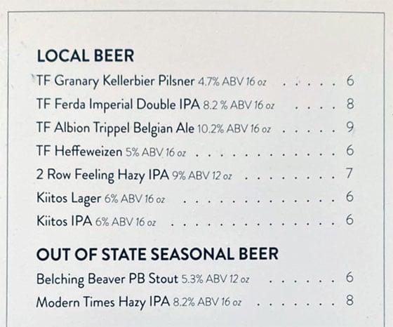 Root'd Cafe menu - more beer