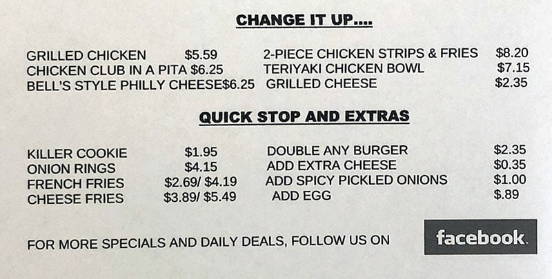 Bell's Deli menu - change it up, quick stop, extras