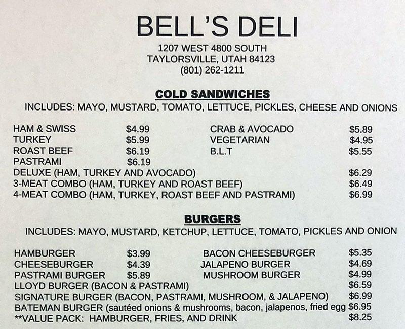 Bell's Deli menu - cold sandwiches, burgers