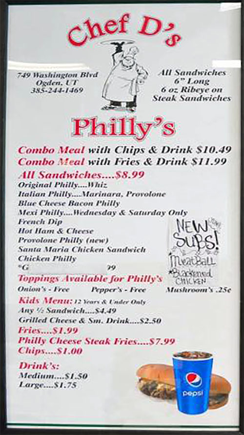 Chef D's Philly's menu - cheesesteaks