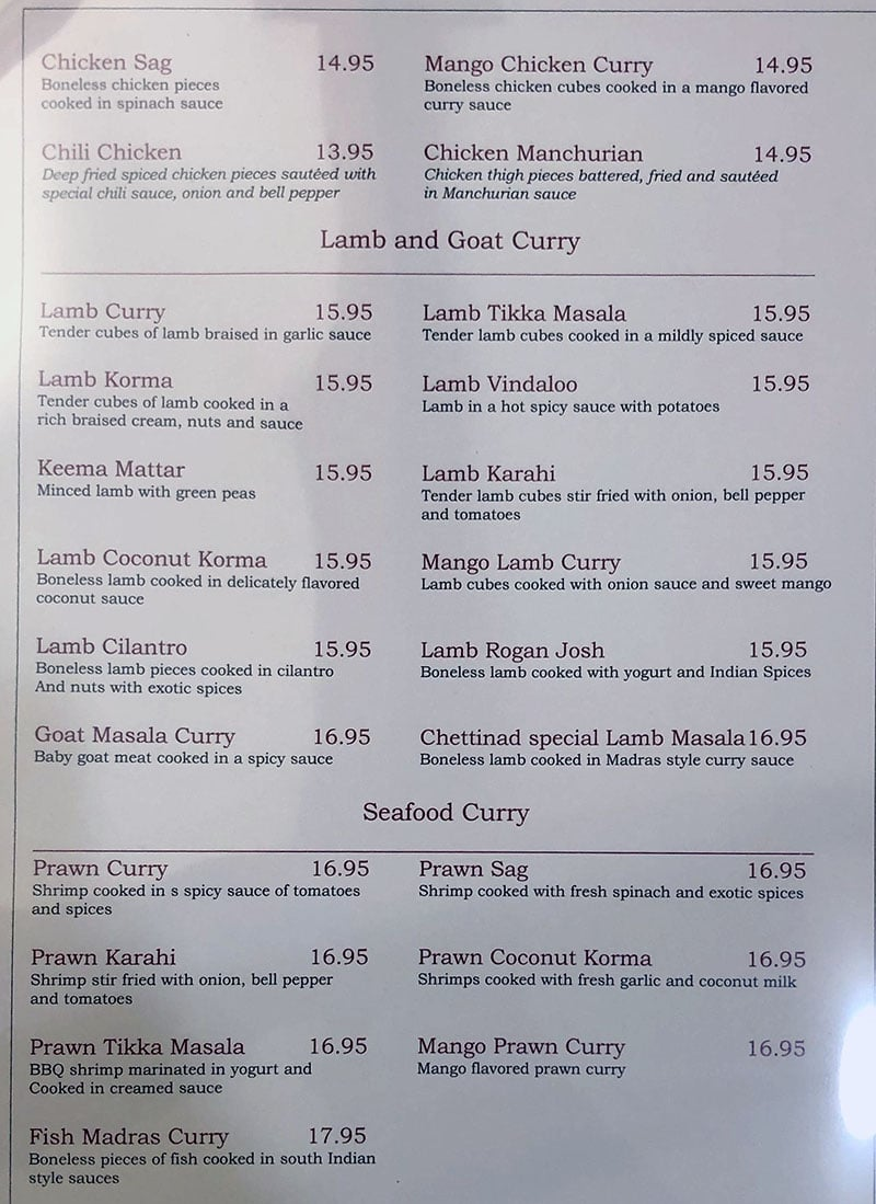 Chettinad House menu - chicken continued, lamb and goat curry, seafood curry
