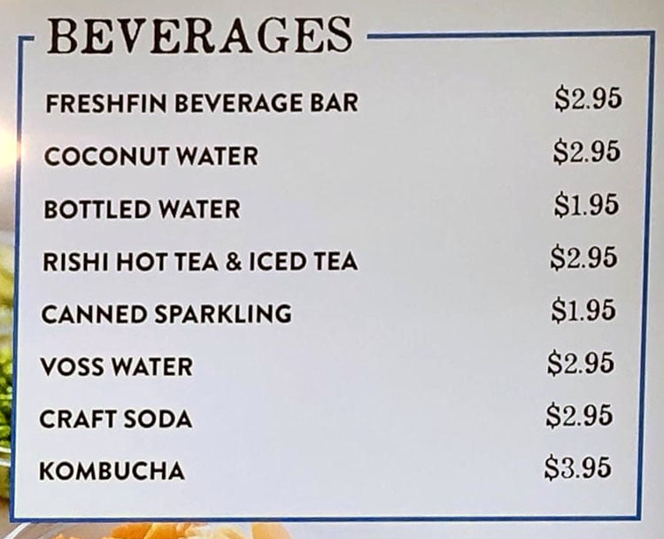 Fresh Fin Poke menu - beverages