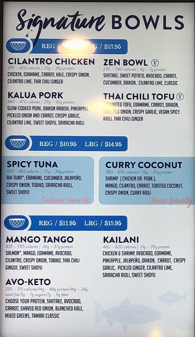 Fresh Fin Poke menu - signature bowls