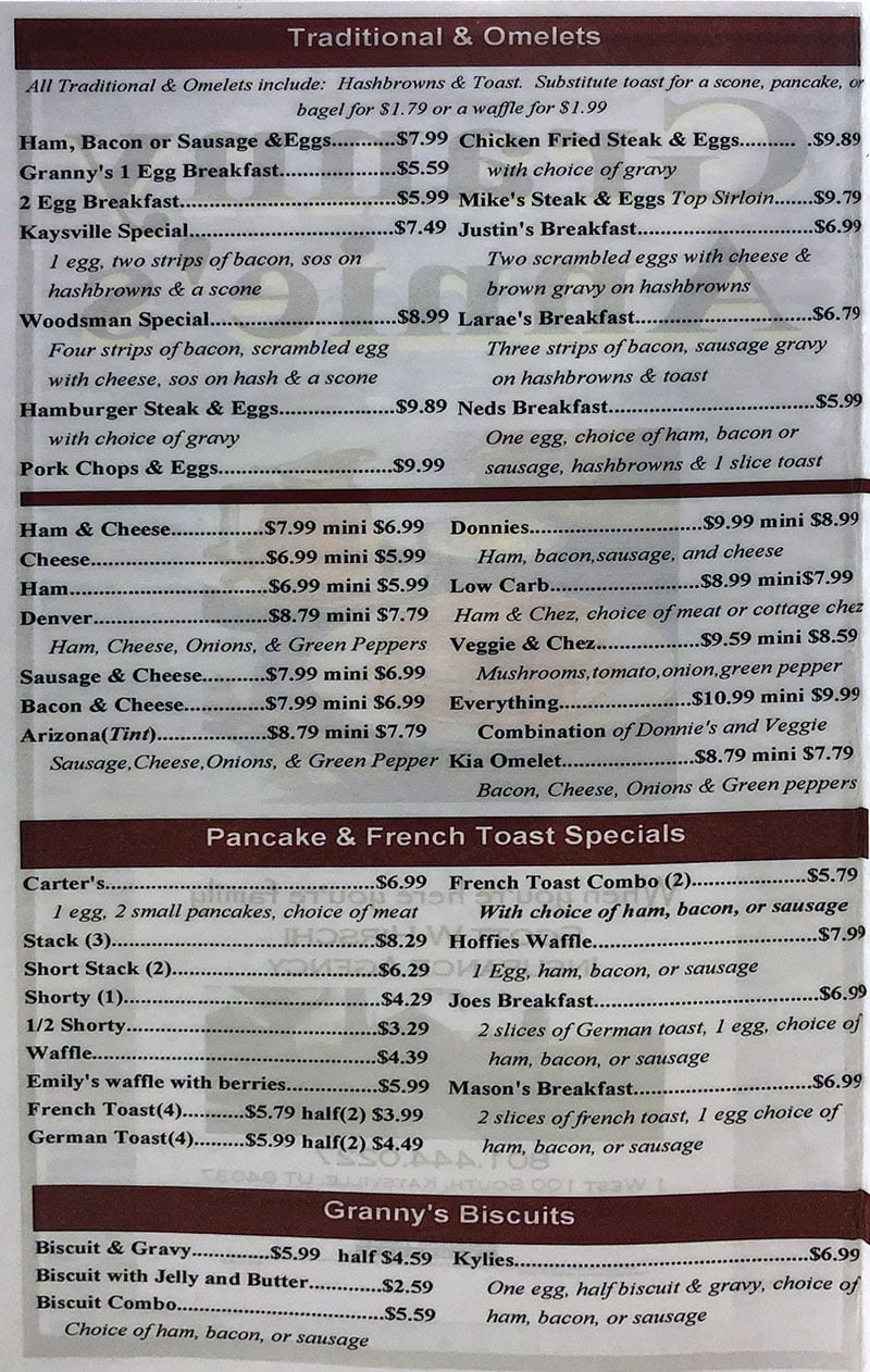Granny Annie's Family Restaurant menu - omelets, pancakes, biscuits