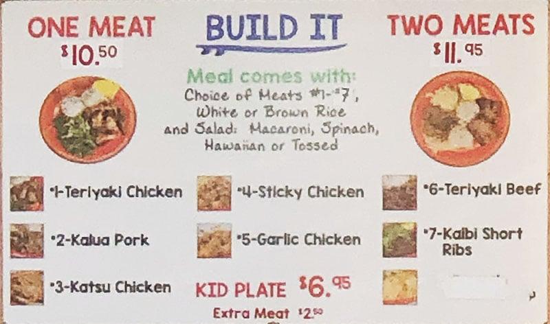 Moki's Hawaiian Grill menu - meals