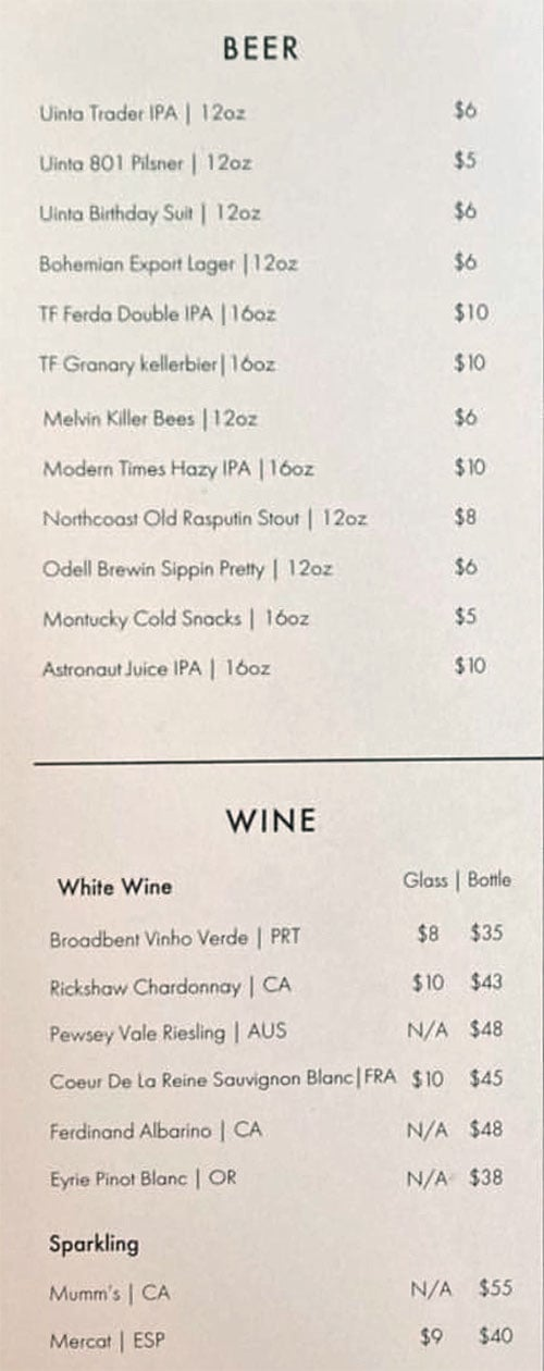 Nomad East menu - beer, wine
